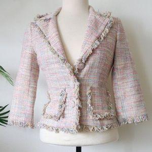Arden B Pastel Multi Color Tweed Blazer